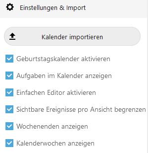 Der Import-Button befindet sich unten links in der Kalenderansicht von Nextcloud